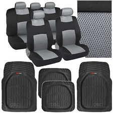 9 Pc Sporty Mesh Gray / Black Car Seat Cover & 4 Pc Deep Dish Black Rubber Mats