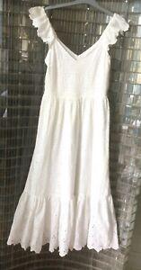 H&M stunning on-Trend Boho White tiered Broderie Midi Dress, size UK 8 EU 36