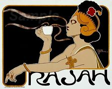 VINTAGE RAJAH COFFEE FRENCH ADVERTISING A4 POSTER PRINT