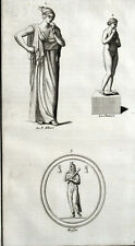Statue Angerone & Shooting Hunting Antiquity Montfaucon Original Engraving 18th