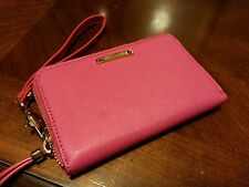 Stella And Dot Zip Around Saffiano Lether Card Holder PINK Wallet