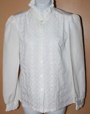 True Vintage Rhonda Lee Blouse Eyelet Button Down Shirt Sz 10 White Polyester A6