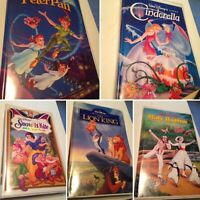 Lot 5 Classic Disney VHS Tapes Lion King /Snow White /Cinderella /P Pan / Mary P