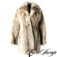DRAMATIC Vintage Custom Made Ivory Vanilla Spotted Long Fur Chubby Coat Jacket