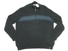 $89 NWT Mens Calvin Klein 1/4 Zip Chest Stripe Sweater Officer Navy XXL 2XL M870