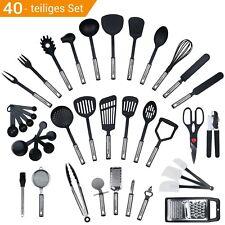 40 teiliges Küchenset, Küchenutensilien, Küchenhelfer set aus Edelstahl