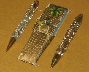 Vintage 1950's Miniature Decorative Brass Pen & Pencil Set with Soft Case