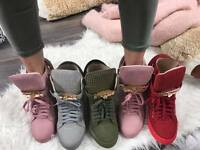 New Ladies Womens Wedges Wedge Sneakers Ankle Boots Shoes Hi High Top Size uk
