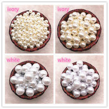 Wholesale NO Holes White Ivory Round Imitation Plastic Pearl Spacer Beads