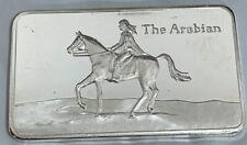 """1 OZ .999 FINE BRADFORD SILVER ART BAR """"Arabian Horse"""" Limited Edition Of 1000"""