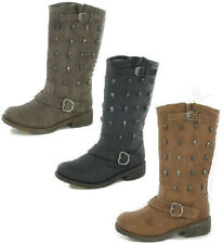 Sale Ladies Spot On Mid-Calf Boots with Skull Studs in Brown, Black  - F50037