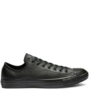 Converse Chuck Taylor All Star Black Leather Trainers UK 9.5 43 Genuine RRP £65