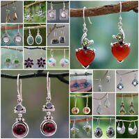 925 Silver Turquoise Garnet Heart Ear Stud Hook Drop Dangle Ruby Bride Earrings