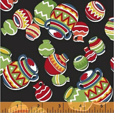 Windham Black Pots SOUTH OF THE BORDER fabric Mexican Aztec American novelty 1m