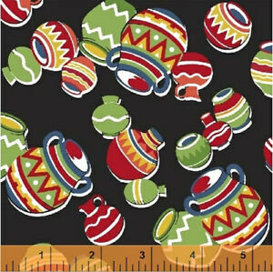 Windham Black Pots SOUTH OF THE BORDER fabric Mexicana Aztec American novelty