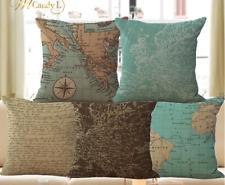 Nautical Map Scroll Globe Cushion Covers! Retro Vintage Sea Sailing Pillow 45cm