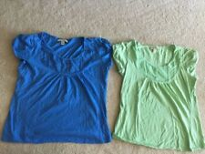 2 ladies size M Carolyn Taylor cotton short sleeve casual summer tops blue green
