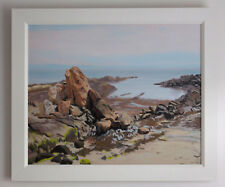 Sunlit Rocks Seascape Fife coast Scotland UK Framed  original oil on canvas art