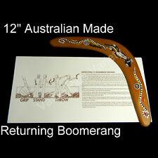 "12"" Australian Made Returning Boomerang 1 Kangaroo Aboriginal Dot Art Design"