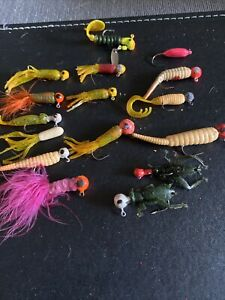 Vintage Fly Jelly Lures 16 Lures With Lead Heads Used Condition