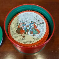 Vintage Christmas Holiday Paper Coasters (40) Mid Century in Tin Carolers
