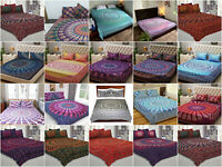 Indian Mandala Queen Bedspread Fitted Sheet Flat Bed Cover Room Decor 4 Pc Set