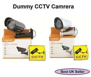 New Outdoor Indoor Dummy Imitation CCTV Security Camera LED Light Black / Silver