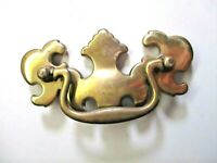 "Cont B 1988 Drop Bail Drawer Pull Handle 1016 P110 Shiny Brass 3"" Centers 1 Vtg"