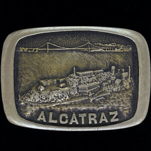 Messing Alcatraz Selten Strafanstalt Prison California 1970s Vintage Gürtel Gurt