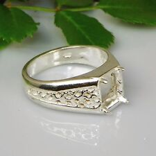 9x7 Mens Emerald Mesh Sterling Silver Ring Setting Sz10 (Casting - Mount)