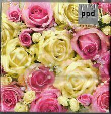 20 Servietten zur Hochzeit rosa creme Rosen Schleierkraut SV0040