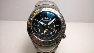 Rare Futuristic Black Seiko MX SATF001 8F56-0140 Sapphire Perpetual HAQ Watch