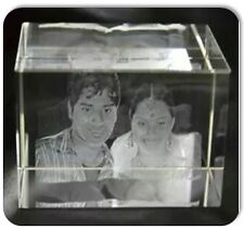 Personalized 3D Crystal Cube High End Laser Engraved Your Own Image - Couple