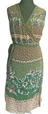 Monsoon Vestido Envolvente Talla 18 Verde Turquesa Marrón Con Cuentas Escote en V sin mangas de fiesta