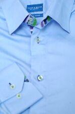 Haines & Bonner London Men's Blue Colorful Contrast Cotton Casual Shirt M Medium