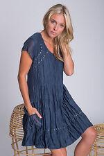 Cotton Blend Casual Sundresses Solid Dresses for Women