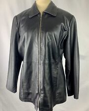 Style & Co.Women's Genuine Black Leather Jacket Coat  M Lined Zip Front