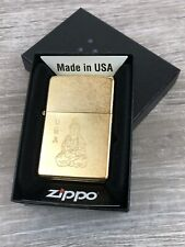 "Zippo Goddess of Mercy Gold Dust ""Sitting Guan Yin"" Etched"