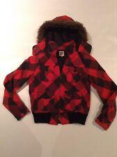 ROXY P474144 Women's Juniors Size M Faux Fur Hooded Lumberjack Plaid Jacket EUC
