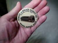 RARE POWERS & WALKER CASKET CO. CELLULOID POCKET STONE Grand Rapids Michigan VG