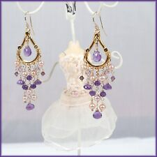 New Amethyst & Pink Freshwater Pearl 14K Yellow Gold Filled Chandelier Earrings