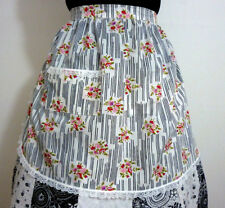 VINTAGE RETRO INSPIRED HOSTESS HALF APRON WHITE PINK FLOWERS GIFT HENS PARTY NEW