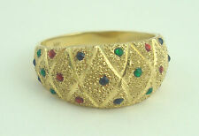 Very Nice 14K Yellow Gold Colorful Beaded Diamond Cut Band Ring B4537