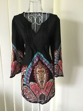Women's Top/Tunic 3/4 Sleeve Black Tribal Print BNWT Sz 2XL V-Neck