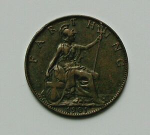 1901 UK (British) Victoria Coin - Farthing (1/4d) - brown