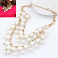 New Fashion Pearl double layer Chunky  Pearl necklace Chain  Bib  uk