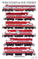 "Wisconsin & Southern Locomotives 11""x17"" Railroad Poster Andy Fletcher signed"