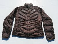 Womens NORTH FACE Brown Aconcagua 550 Goose Down Puffer Sweater Jacket Medium