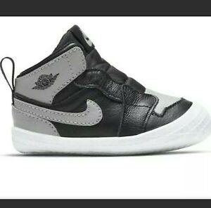 "Nike Air Jordan Retro 1 ""Shadow"" Crib Bootie Size 2C Baby Shoes AT3745 013"