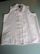 LAUREN JEANS CO RALPH LAUREN  Sleeveless  Button Down Shirt wth Lace Small Pink